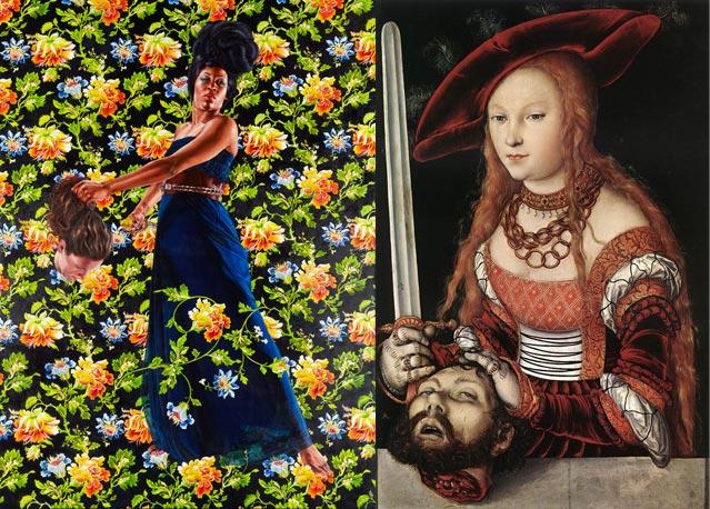 À gauche, Kehinde Wiley, Judith and Holofernes, 2012, oil on linen, 120 x 90 inches © Kehinde Wiley. À droite, Lucas Cranach (l'Ancien), Judith avec la tête de Holopherne, 1530, peinture à l'huile sur bois