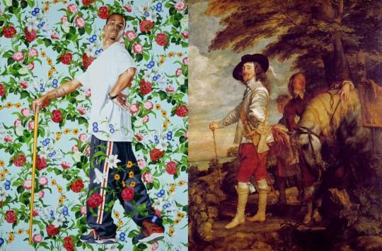 À gauche, Kehinde Wiley, Le Roi à la chasse, 2006, oil on canvas, 96 x 72 inches © Kehinde Wiley. À droite, Antoine Van Dyck, Le Roi à la Chasse, 1635, 272 x 212 cm