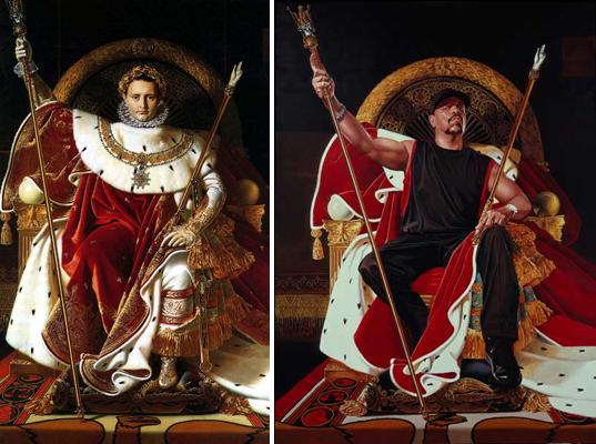 A gauche, Napoleon I on His Imperial Throne, 1806, Oil on canvas (259 x 162 cm). A droite, Ice T, 2005, Oil on canvas (243.8 x 182.9cm)  © Kehinde Wiley.